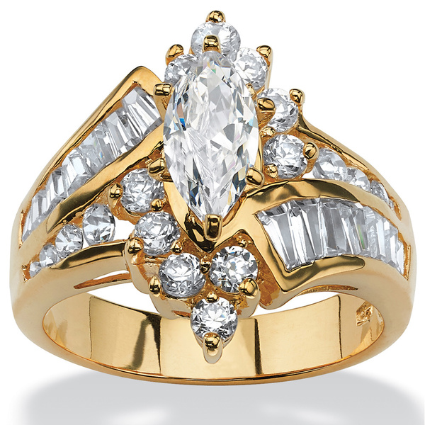 PalmBeach 3.20 TCW Marquise-Cut Cubic Zirconia Engagement Anniversary Ring in 18k Gold over Sterling Silver Glam CZ