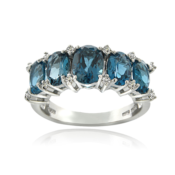 Glitzy Rocks Sterling Silver London Blue and White Topaz 5-stone Ring