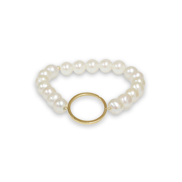 Pearlyta 14k Gold Circle Shape Freshwater Pearl Bracelet (7-8mm)