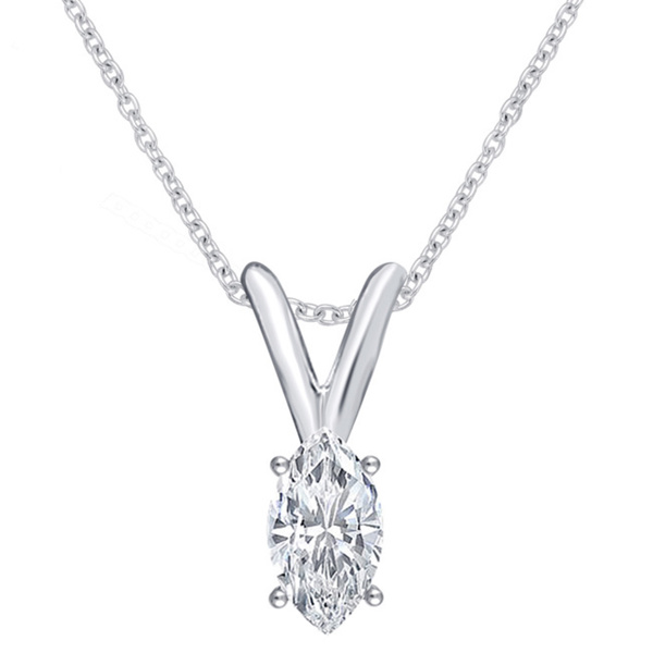 Divina 14k White Gold 1/4ct TDW IGL Certified Marquise Solitaire Diamond Pendant Necklace (J-I2)