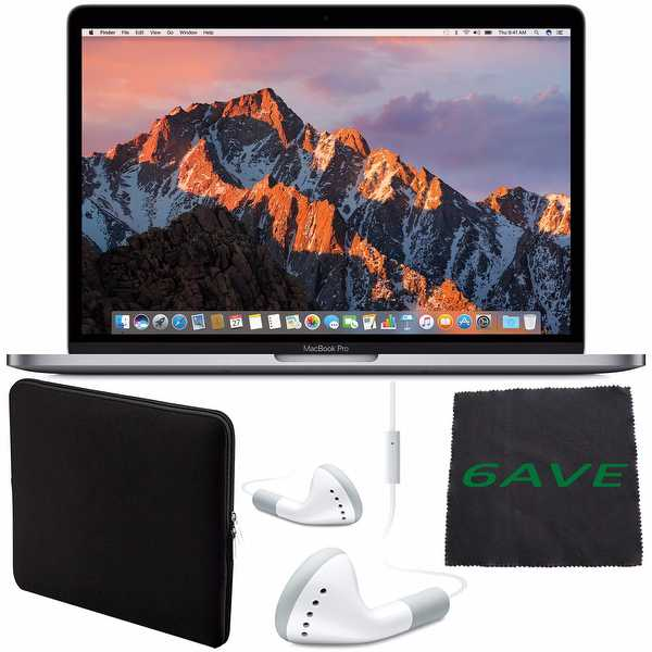 Apple 13.3' MacBook Pro (Space Gray) 256GB SSD #MPXV2LL/A + White Wired Earbuds Headphones + Padded Case + Fibercloth Bundle
